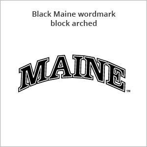 black Maine wordmark block arched