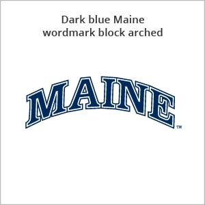 dark blue Maine wordmark block arched