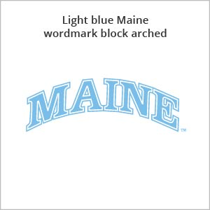 light blue Maine wordmark block arched