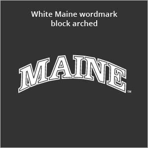 white Maine wordmark block arched