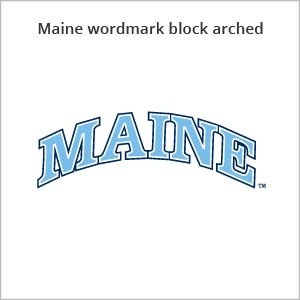 Maine wordmark block arched