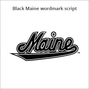 black Maine wordmark script