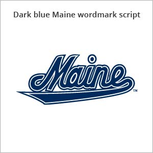 dark blue Maine wordmark script