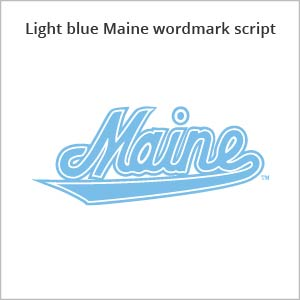 light blue Maine wordmark script