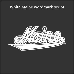 white Maine wordmark script