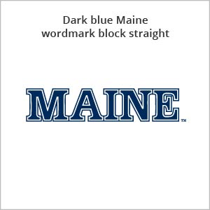 dark blue Maine wordmark block straight