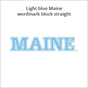 light blue Maine wordmark block straight
