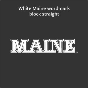 white Maine wordmark block straight