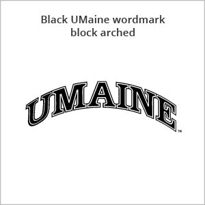 black UMaine wordmark block arched