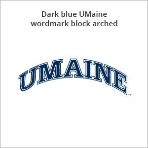 dark blue UMaine wordmark block arched