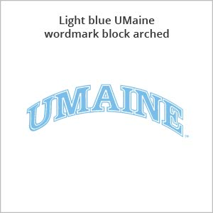 light blue UMaine wordmark block arched