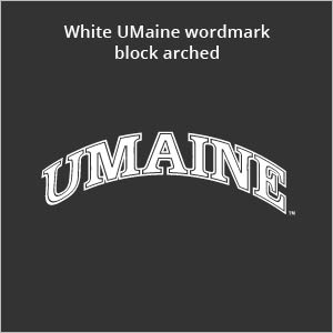 white UMaine wordmark block arched
