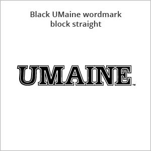 black UMaine wordmark block straight