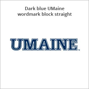 dark blue UMaine wordmark block straight