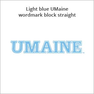 light blue UMaine wordmark block straight