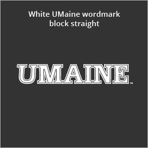 white UMaine wordmark block straight