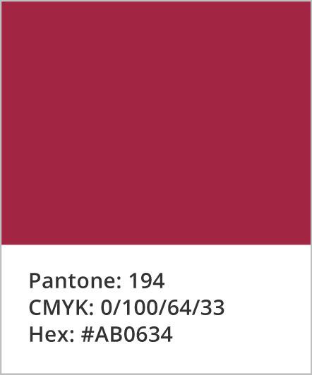 Pantone: 194; CMYK: 0,100,64,33; Hex: #AB0634