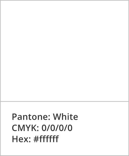 Pantone: White; CMYK: 0,0,0,0; Hex: #ffffff