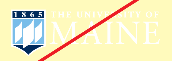 example of the reverse UMaine logo on a background that it too light