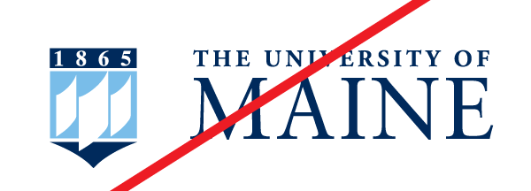 UMaine logo, bad distance from wordmark