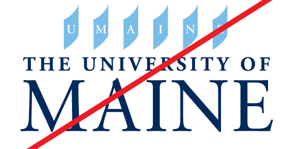 example of a bad UMaine logo with crest parts moved