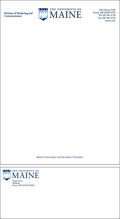 UMaine letterhead and envelope example