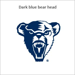 Dark blue bear head logo