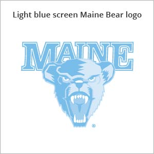 Light blue screen Maine bear logo