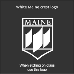 White Maine crest logo - when etching on glass use this logo