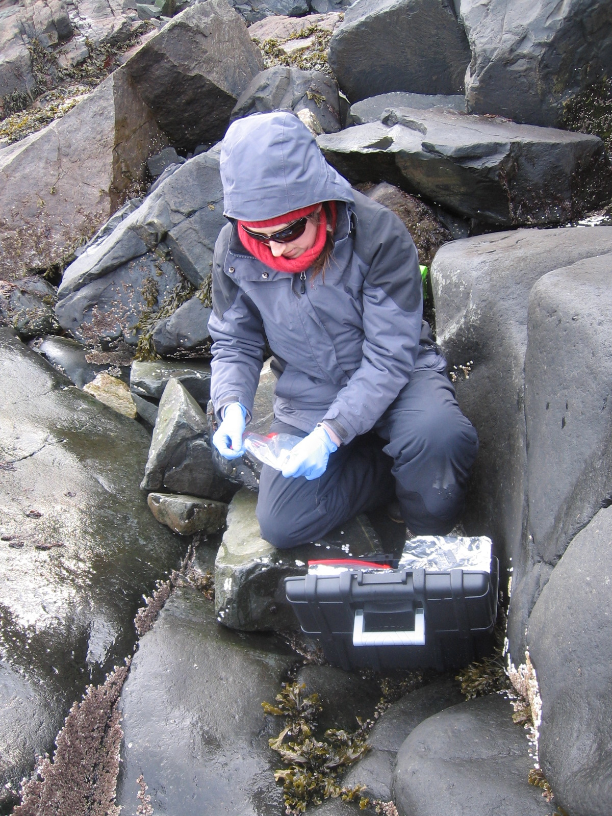 Collecting samples during the frigid cold weather of February