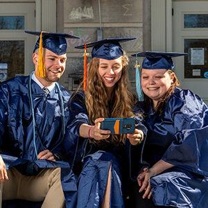 Graduation photo at the library