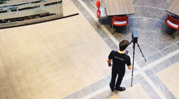 Xander Karris scanning the DPC Atrium