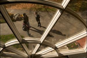 View of students through university window