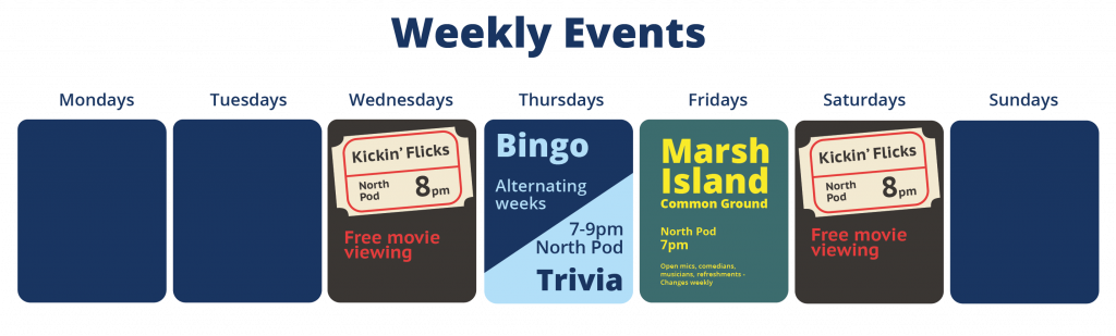 Weekly events: Mondays, none; Tuesdays, none; Wednesdays, Kickin' Flicks free movie 8pm North Pod of the Memorial Union; Thursdays, Bingo and Trivia alternating weeks 7-9pm North Pod Memorial Union; Friday, Marsh Island Common Ground 7-9pm North Pod Memorial Union, comedians, open mic, games; Saturday, Kickin' Flicks free movie 8pm North Pod of the Memorial Union; Sunday, none.