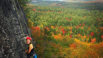 rock climbing in fall foliage