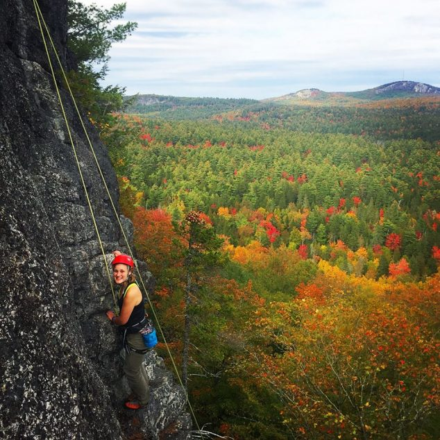 rock climbing in fall foliage
