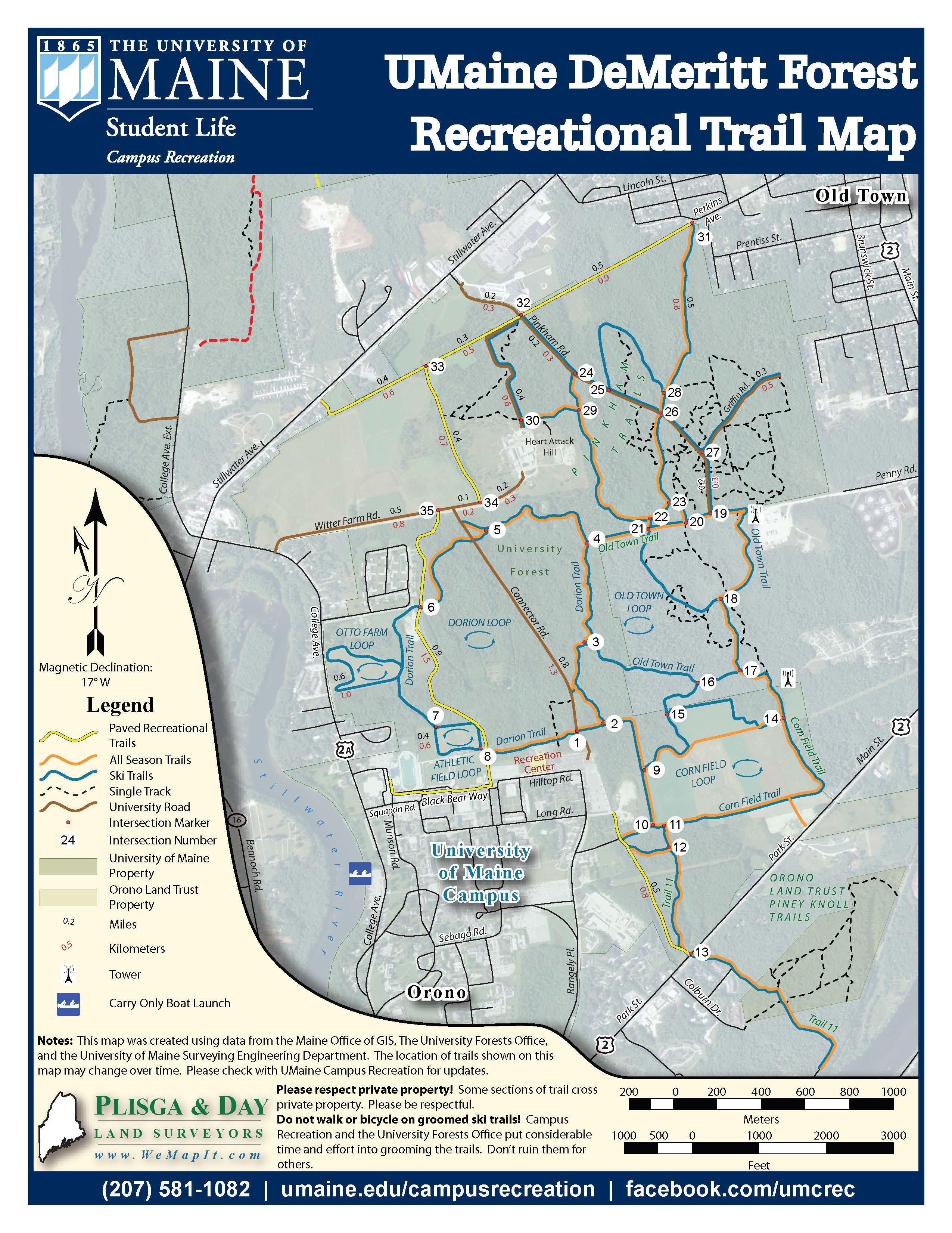 Umaine Campus Map Pdf.Demeritt Forest Trail System Campus Recreation University Of Maine