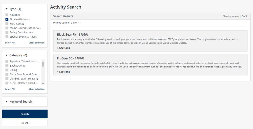 activity search
