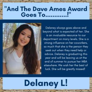 Dave Ames Award Winner Delaney L.
