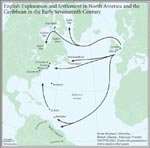 Figure 1.6 English Exploration and Settlement in North America and the Caribbean in the Early Seventeenth Century