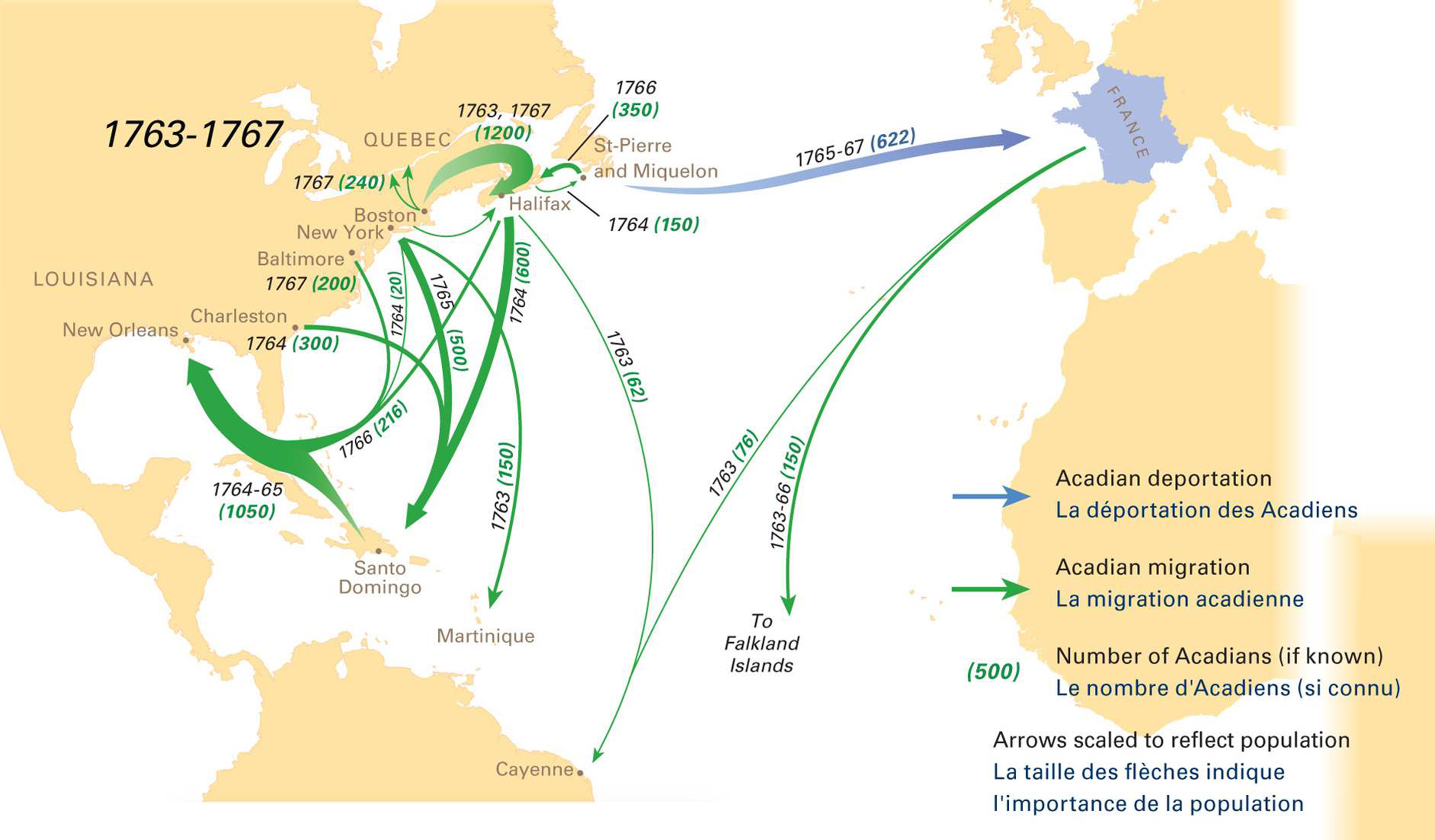 Acadian Deportation Migration And Resettlement Canadian - Map of us during 1763