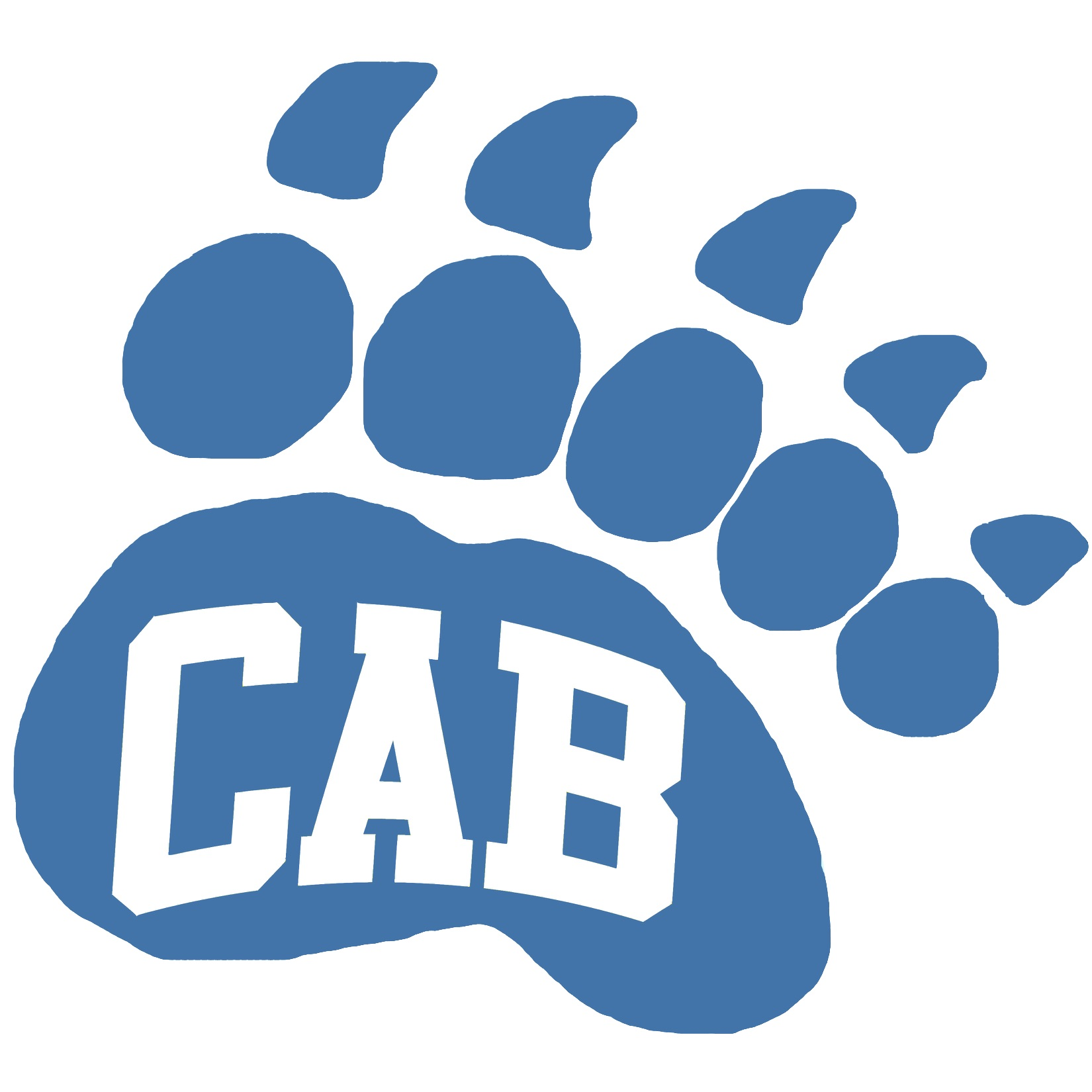 "Blue paw print with ""CAB"" in white letters"