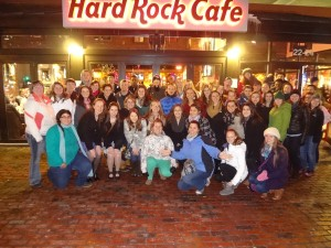 Group posing infront of Hard Rock Cafe