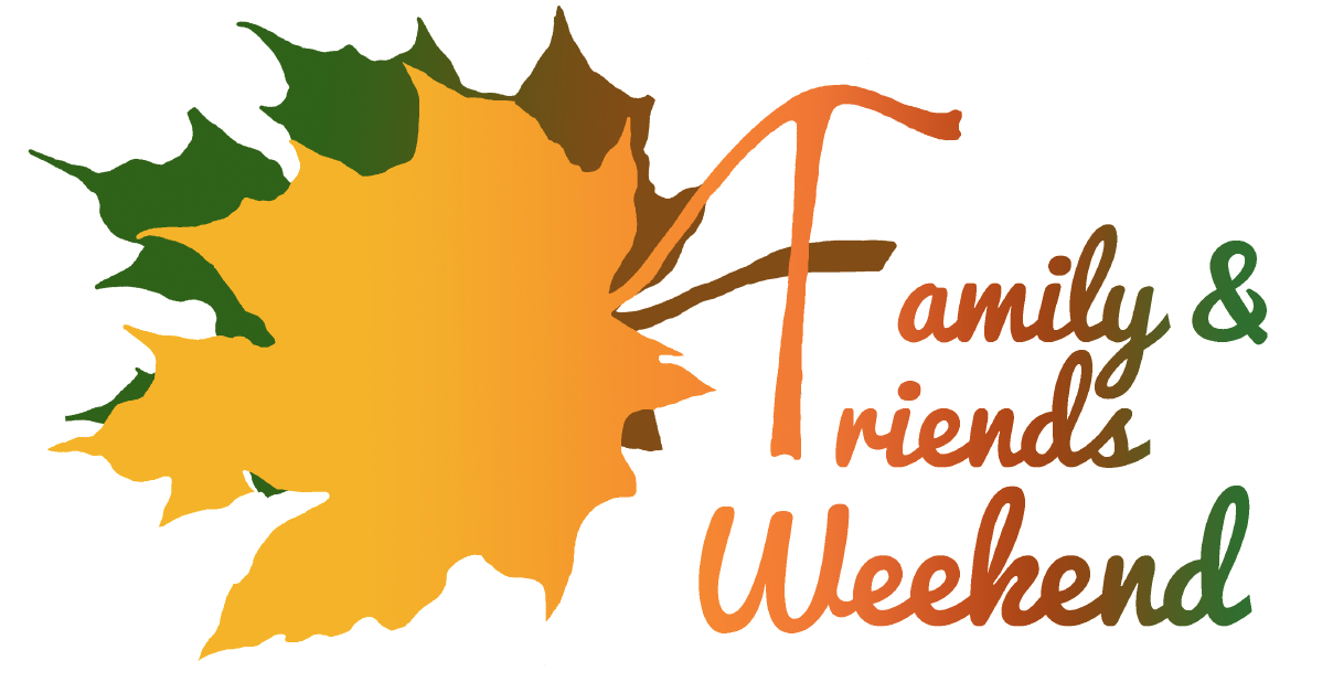 Yellow, green and brown leaves with Family & Friends Weekend text