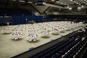 Tables prepared for event at Alfond