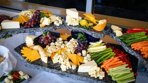 Arrangement of veggies and cheeses
