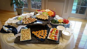 Arrangement of appetizer platters
