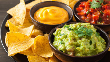 nacho chips and salsa with guacamole and cheese dip