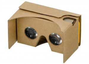 A google cardboard headset for viewing virtual reality movies.