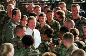 Secretary of Defense William Cohen addressing service members